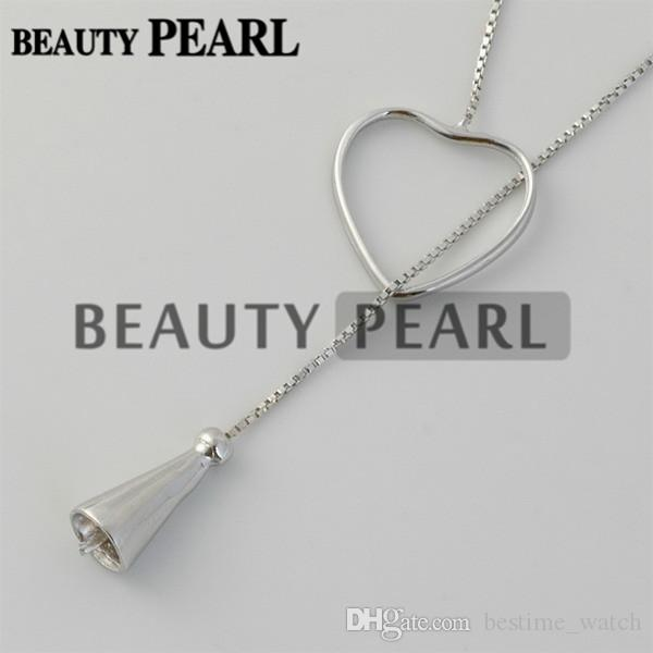 Bulk of Sterling 925 Silver Box Chain Heart Pendant Mounting Necklace Jewellery Necklace Blanks for Pearls