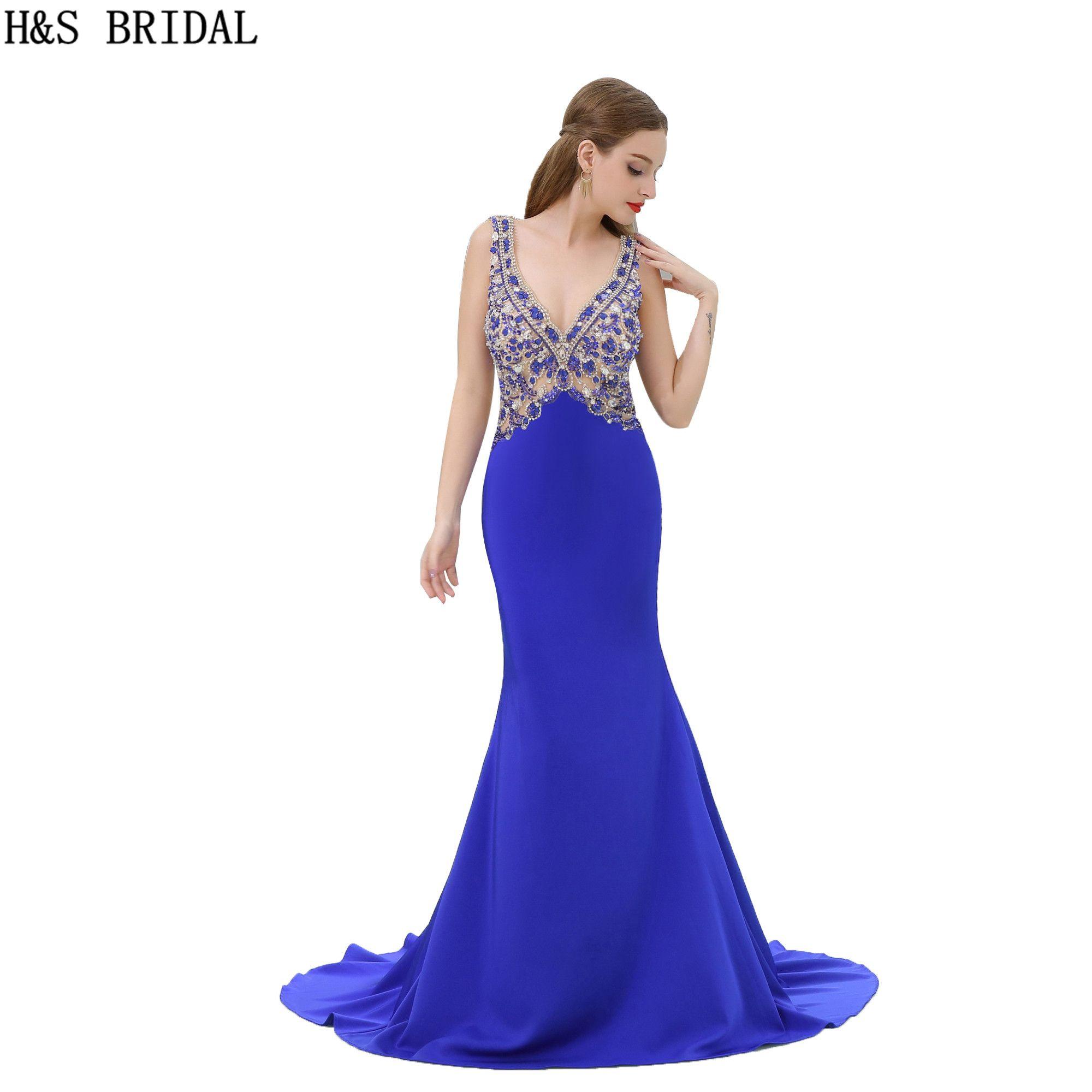 pretty nice 43a8b bae48 Sexy V Meerjungfrau Abendkleider Blau Illusion Perlen Lange 2017  Abendkleider Backless Party Prom Kleider B065