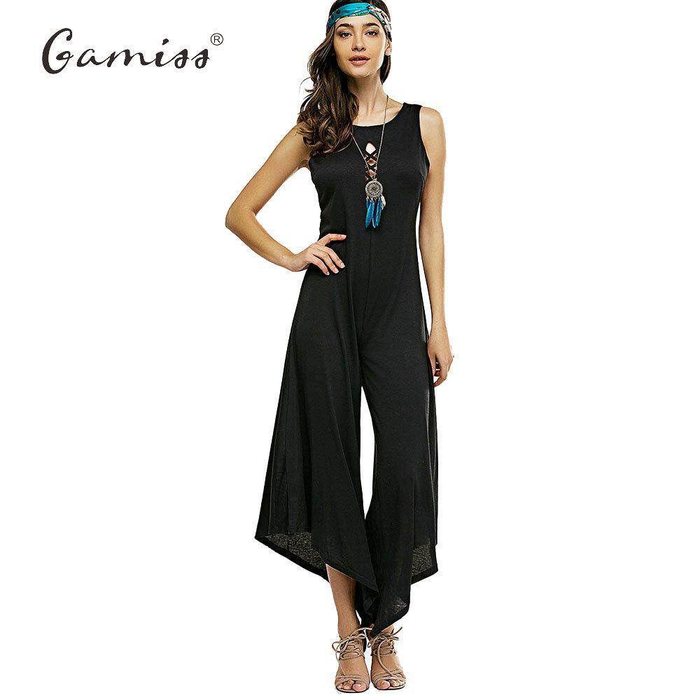 68ecac9576a7 2019 Wholesale Gamiss Rompers Womens Jumpsuit Sleeveless Sexy New Summer  Vintage Backless Cross Bandage Wide Leg Playsuit Harem Pants Romper From  Pamele
