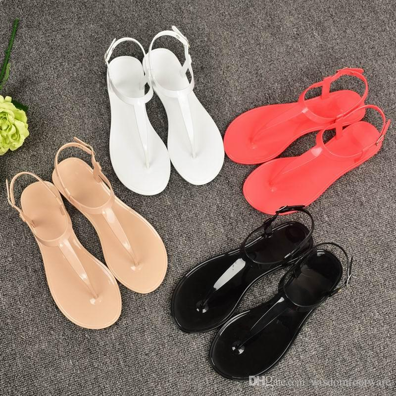 7beed9048670 PVC Simple Ladies Sandals Matal Buckle Beach Slipper Flat Heel Casual Flip  Flops Jelly Shoes Solid Women Fashion Slipper Indoor And Outdoor High Heels  Shoes ...