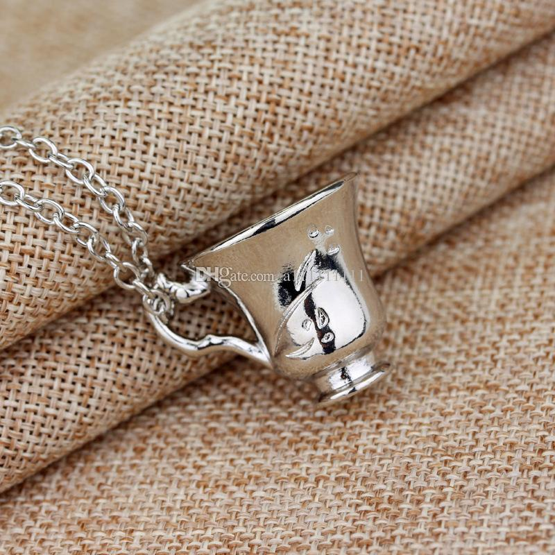 Once Upon a Time Rumbelle Bella Clip Tea Cup Pendant Alloy Necklace Fashion Charm Movie Jewelry Broken Cup Necklace
