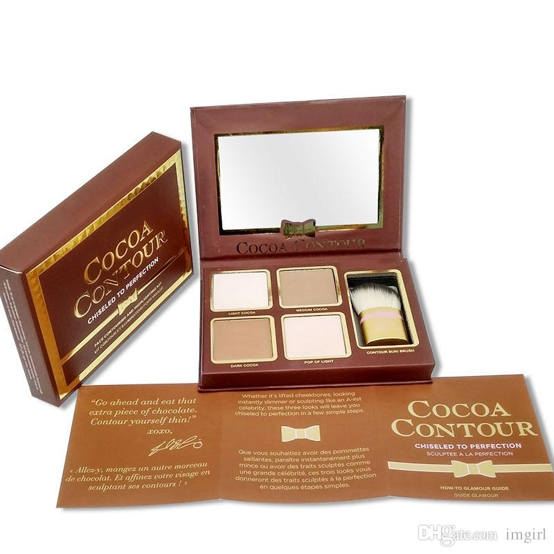 NEW COCOA Contour Chiseled to Perfection Highlighters Palette Nude Color Face Concealer Chocolate Eyeshadow with Contour Buki Brush + GIFT