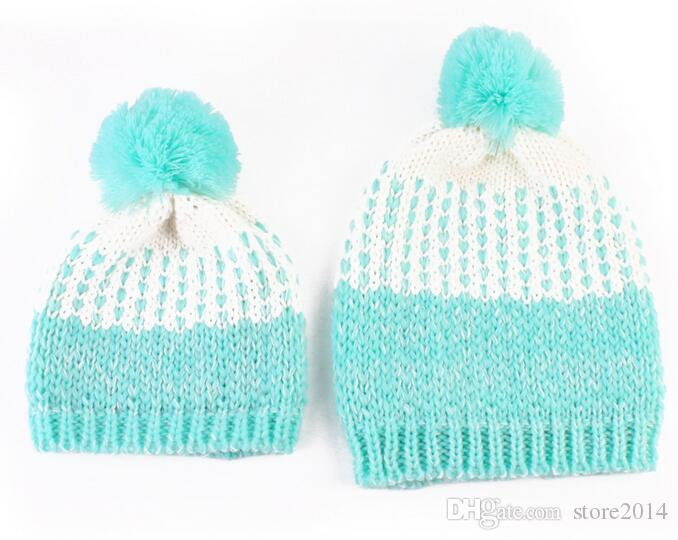 New Baby Mum Ball Wool Beanie Winter Knitted Hats Warm Knitted Beanie Knit Hedging Skull Caps Hand Crochet Caps Hats