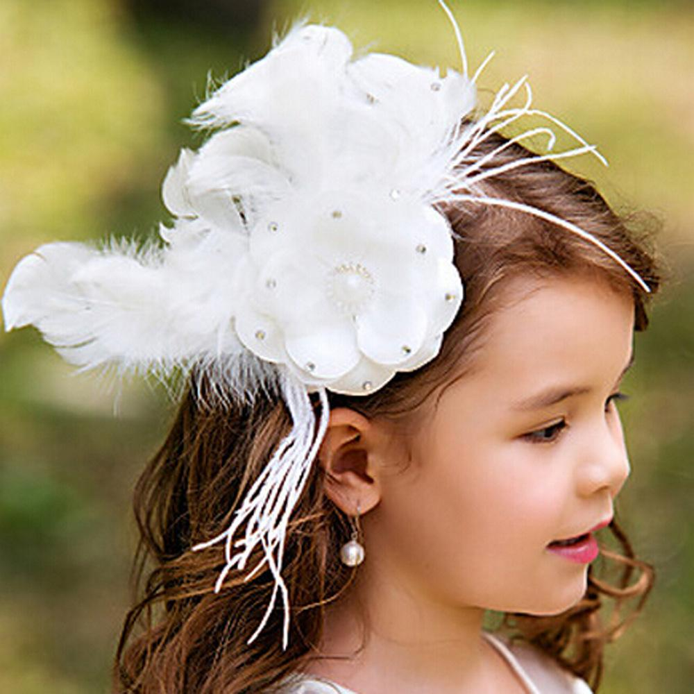 Luxurious feather white flower girl hair accessories children tiaras luxurious feather white flower girl hair accessories children tiaras formal kids party head pieces girls cute flower princess headwear flower girls mightylinksfo