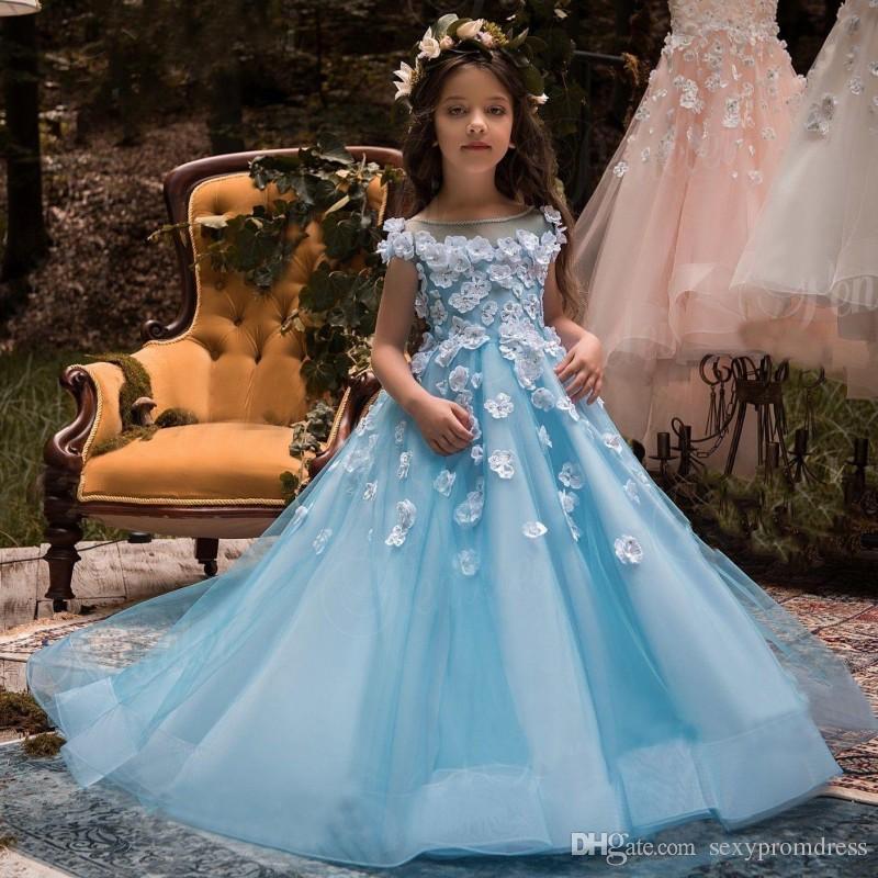 Ice Blue Sheer Neck Flower Girl Dresses For Wedding White Flora ...