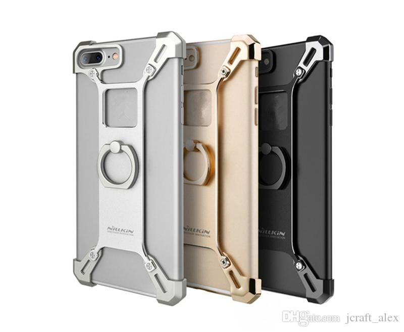 Luxury Gothic Aluminum Exquisite Strong Metal Ring Holder Case For iPhone 7/7 Plus Gold Black Silver