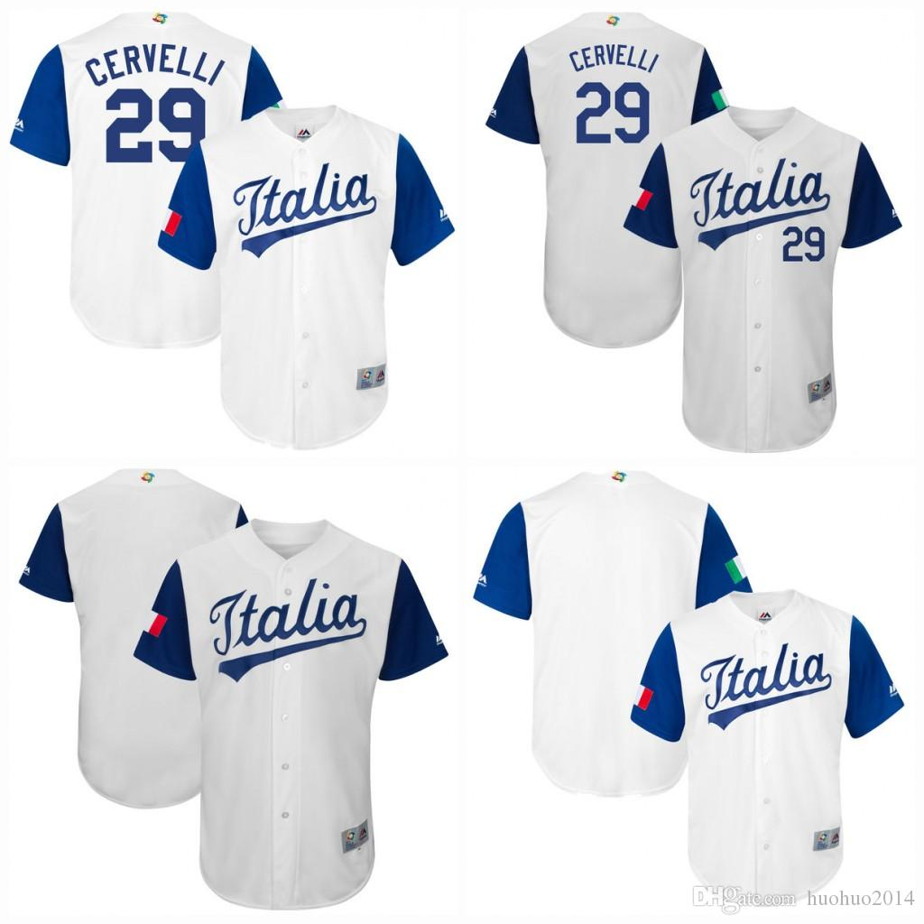 Men Italy 2017 World Baseball Classic Jersey 29 Francisco Cervelli White  100% Stiched Embroidery Logos Customized Baseball Team Jerseys UK 2019 From  ... 67bbfa59f842