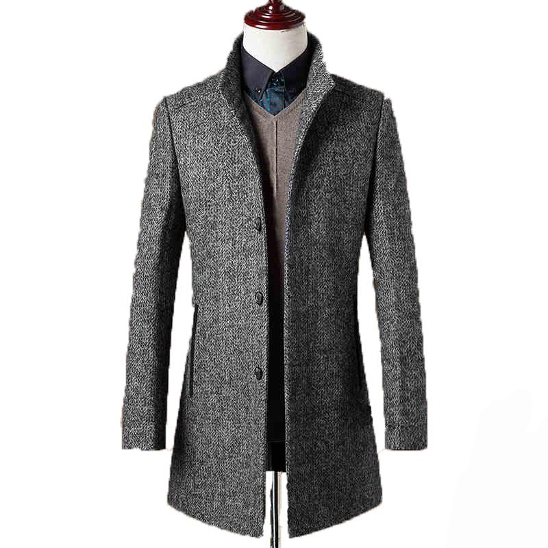 Wholesale- 78% Woolen Overcoat Men Brand-Clothing High Quality Mens ... 09b42295268a