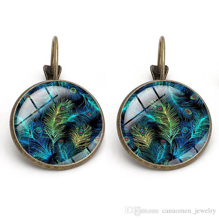 Peacock Feather Earrings Crystal Glass Cabochon Vintage Peafowl Copper Women Fashion Charm Earring Party Jewelry Wholesale
