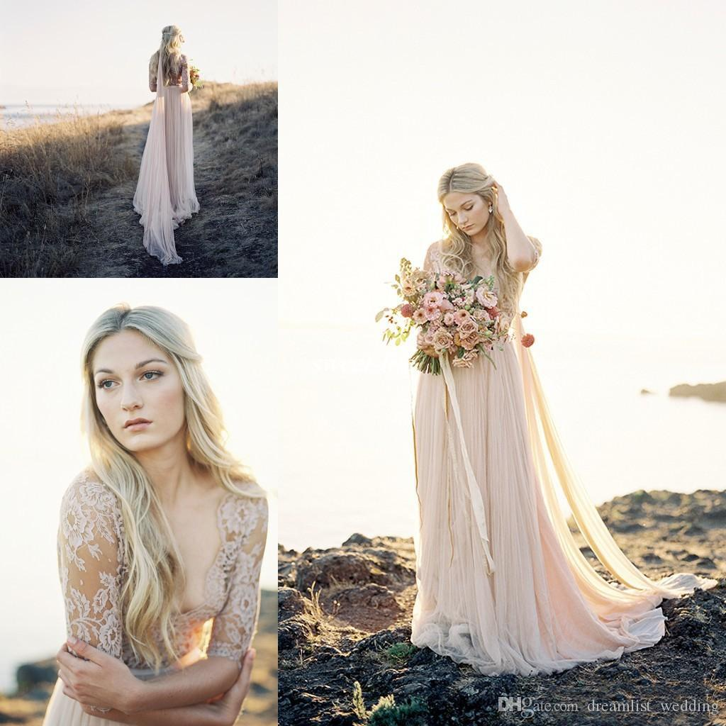 Discount Bohemian Beach Wedding Dresses Country Deep V Neck