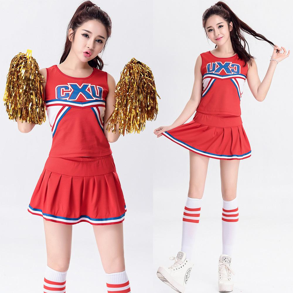 2018 2017 Sexy Cheerleader Costume Basketball Cheer Girls Uniform Party Outfit Nightclub Stage Outfit Cosplay Split Type Tops With Skirt From Michelleldl ...  sc 1 st  DHgate.com & 2018 2017 Sexy Cheerleader Costume Basketball Cheer Girls Uniform ...