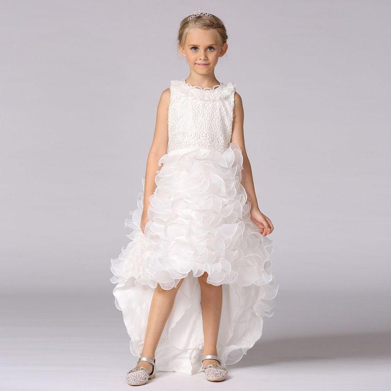 Kızlar Uzun Kuyruk Elbise Parlak Matkap Izgara CakeTrailing Bow Prenses Elbise Kostümleri Prenses Düğün için Elbise