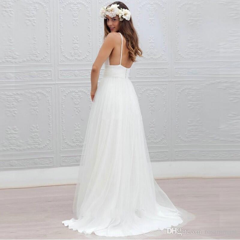 Пляж Лето Boho Свадебные Платья 2020 Спинки Бретельках Дешевые Длина Пола Свадебные Платья Чешские Вечерние Платья Для Свадьбы