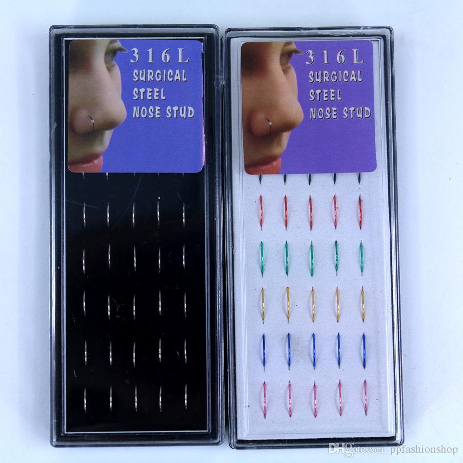 en boîte anti-allergique médical acier inoxydable clou de nez, sans perçage du nez, bijoux piercing en gros