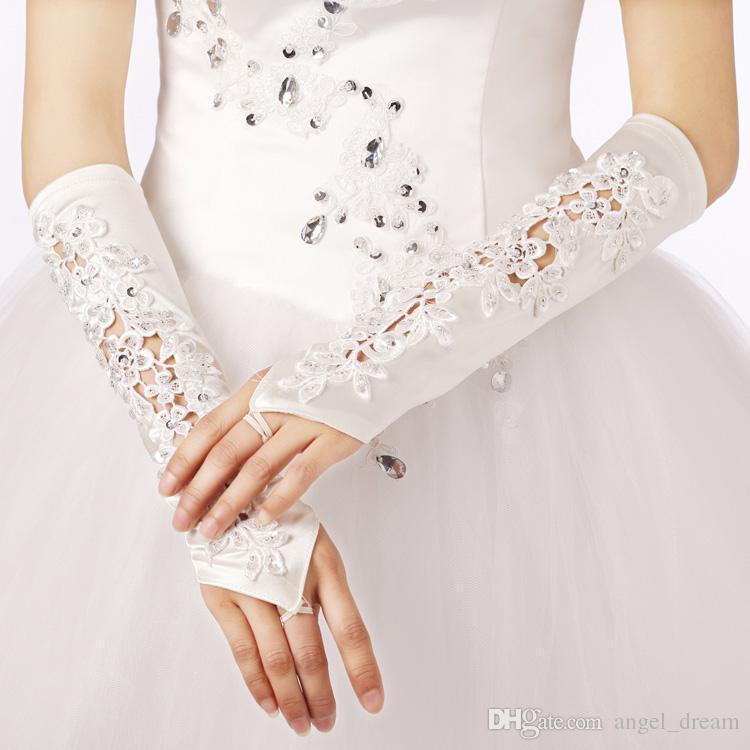Neue Ankunft Bridal Gloves Fashion Fingerlose Hochzeit Handschuhe mit Perlen für Hochzeiten Veranstaltungen Elegante Prinzessin White Ivory Bridal Zubehör