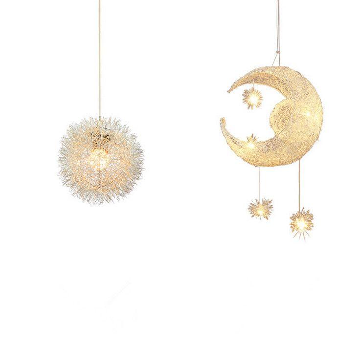 Modern LED Moon & Star Children Kid Child Bedroom Pendant Lamp Chandelier Ceiling Light Aluminum Pendant Light with G4 Bulbs