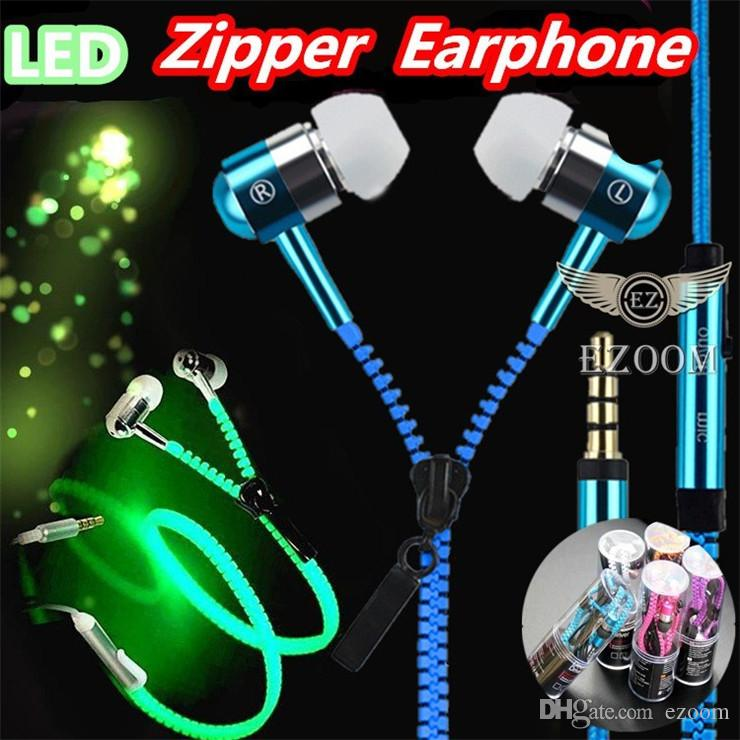 LED Luminous Earphones Glow In The Dark Headphones Metal Zipper Night Lighting Glowing Headset With Mic Handsfree For Iphone 6 Plus Samsung