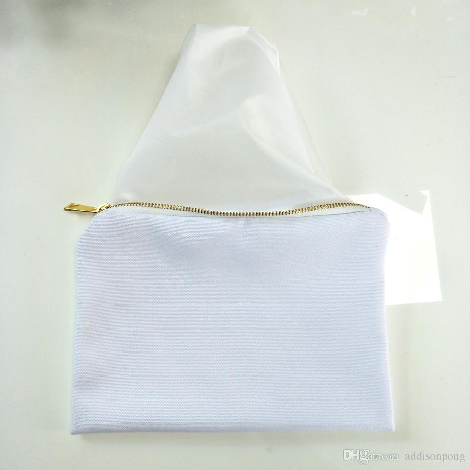 열 전송 인쇄를위한 백색 안대기 백색 지팡이 화장 용 부대를 가진 승화 인쇄를위한 / 백색 폴리 캔버스 메이크업 부대