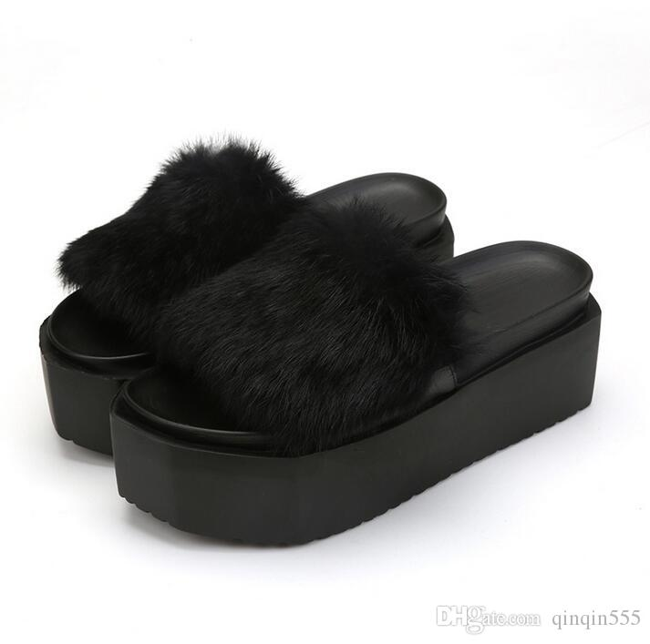 54c0f120678301 2017 Summer Women S Fur Slippers Rabbit Hair Thick Bottom Flats Flip Flops  Fur Sandals Casual Flats Platform Ladies Autumn Shoes Size 35 39 Boys  Slippers ...