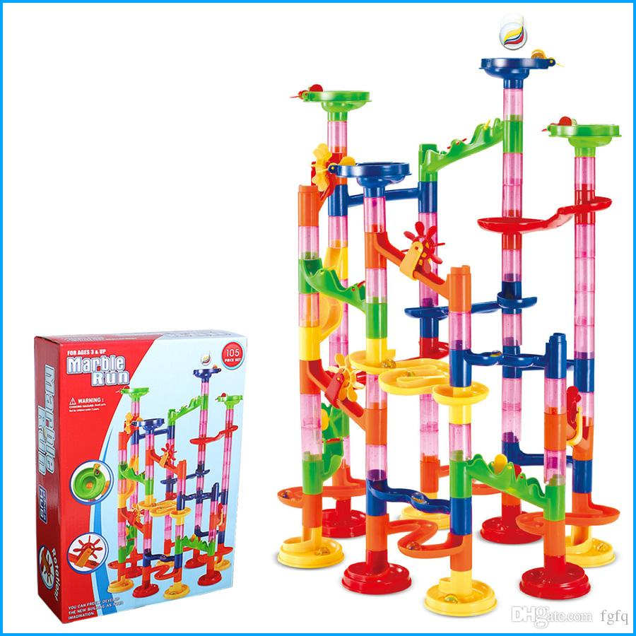 Children Gift, 105Pcs DIY Building Blocks Track Run Race Tower Marble Ball Toys, Kids birthday gift, with original box