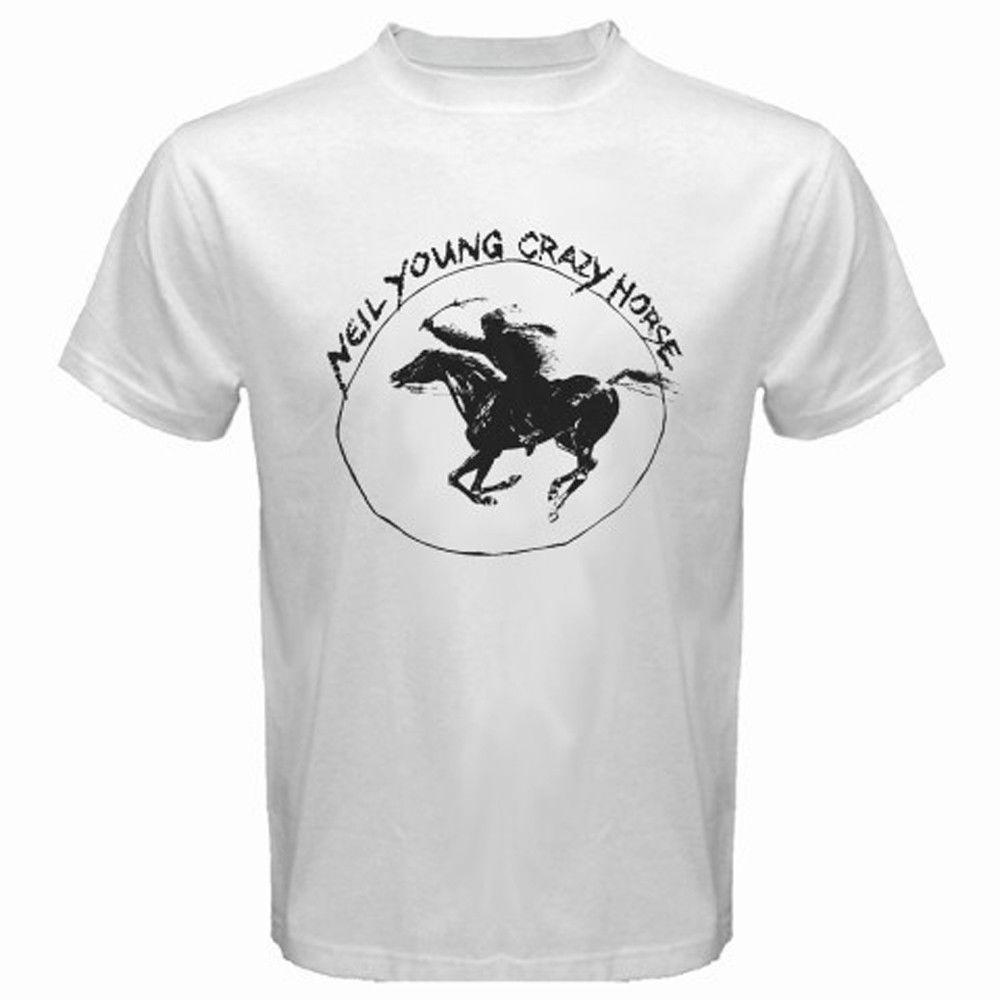 Neil young crazy horse classic tour logo rock legend white for Crazy t shirt designs