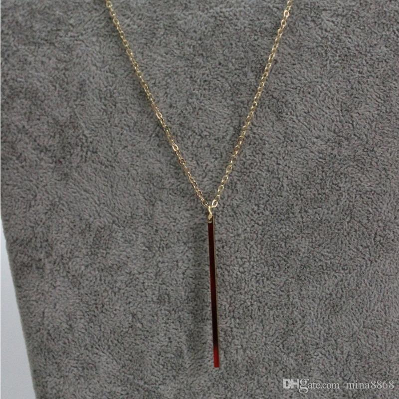 Fashion Delicate Long Necklace Silver/Gold Plated Simple design Bar Necklace for women collar necklaces Wholesale