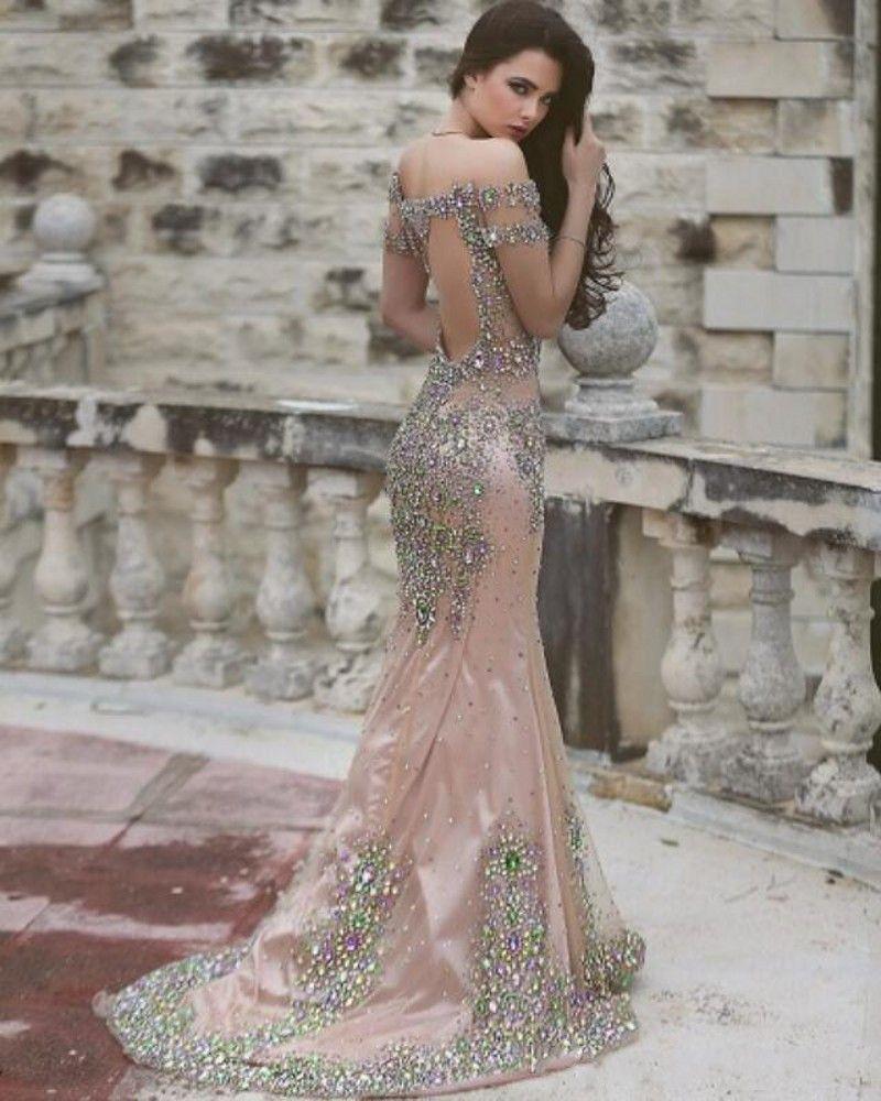 Разноцветные кристаллы платья выпускного вечера из бисера Сексуальное прозрачное вечернее платье без рукавов Русалка Вечернее платье с рукавами Вечернее платье на заказ Свадебные платья