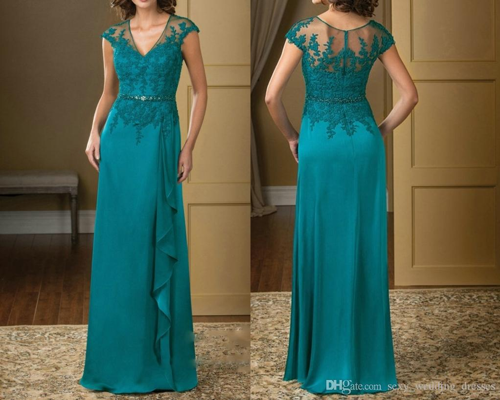 Turquoise Wedding Dress V Neck Lace Appliques Chiffon Mother