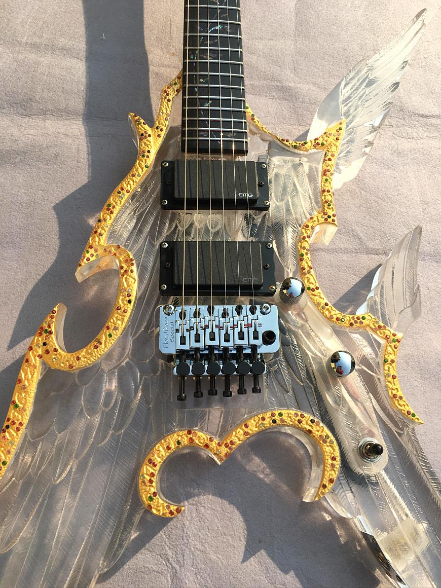 G Electric Christmas Gifts Angel Guitar Acrylic Engraving Electric Guitar 24