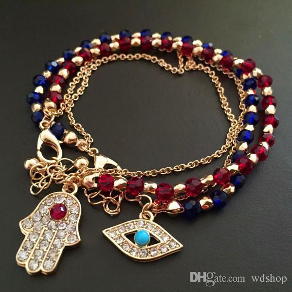 Gold Tone Hamsa Fatima Bracelet Turkey Evil Eye Fatima Hand Glass Gem Bracelets Red Blue Color Beaded Bracelet For Women