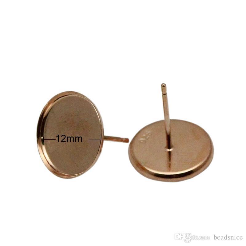 Beadsnice 925 Sterling Silber Ohrstecker runde Lünette Post Ohrringe Ohrstecker Einstellung von Top-Qualität handgemachten Schmuck Zubehör ID26463 27064