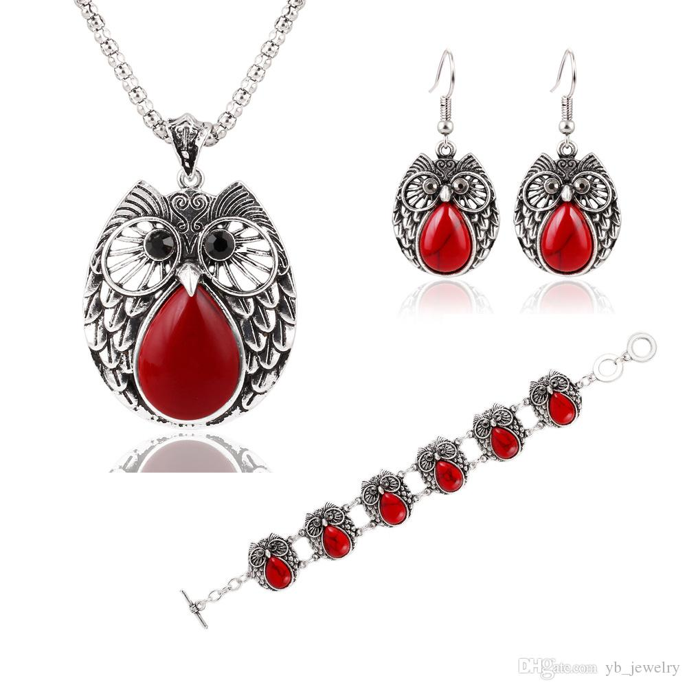Fashion Europe USA Owl Jewelry Sets Metal Turquoise Owl Necklace Earrings Bracelets Women's Gift Hot Style Factory Price
