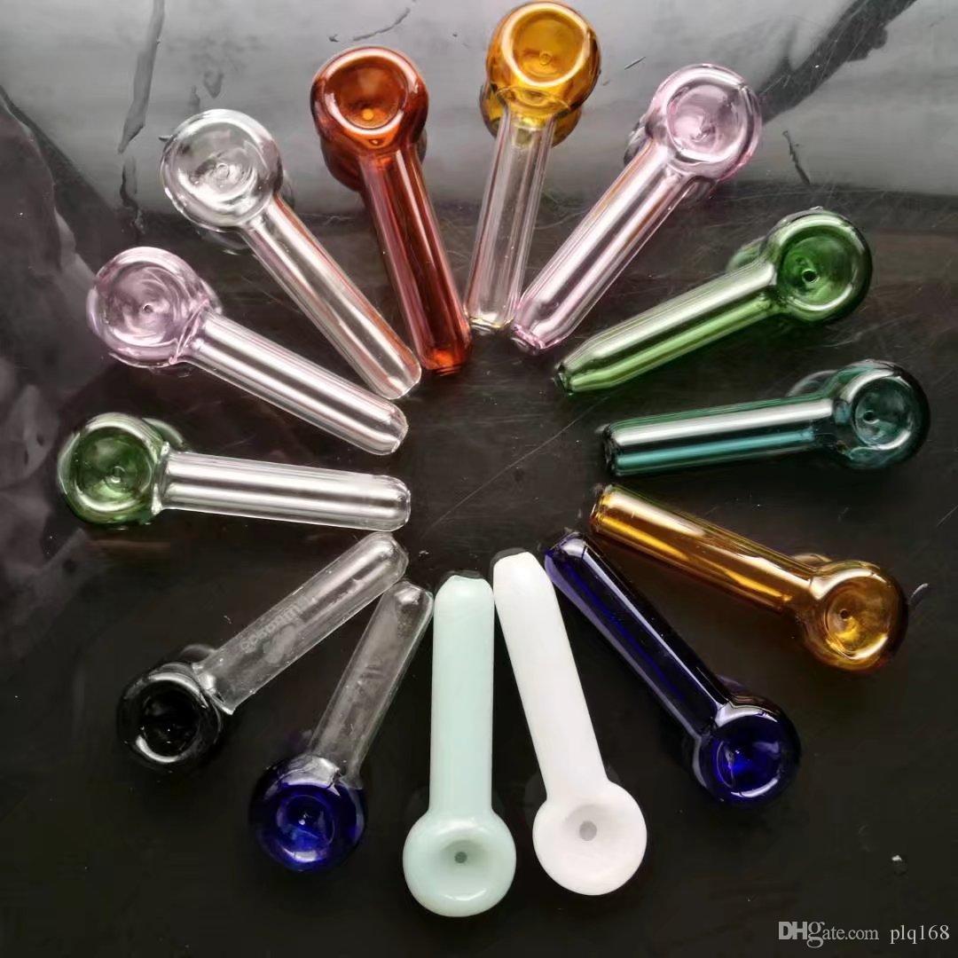 Pote mezclado del humo del color con el logotipo, bongs de cristal al por mayor, cachimba de cristal, accesorios del tubo de humo