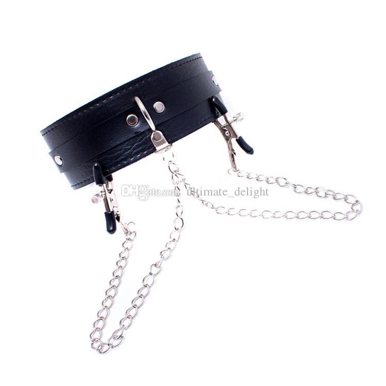 540*50mm Black Leather Collar+Clover Nipple Clamps Adjustable Belt Slave Dog Fetish Bondage BDSM Gear Bondage Sex Product