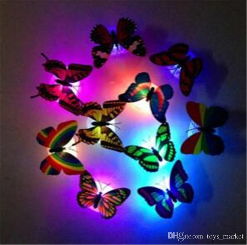 LED Butterfly Wall Sticker Hangings 3D Wall Decros Party Decoration Halloween Christmas Ornaments Night Lights Decor