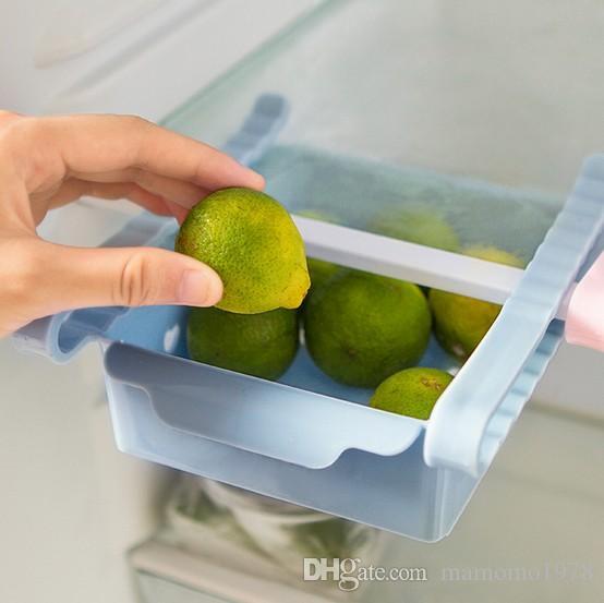 새로운 크리 에이 티브 스토리지 박스 플라스틱 냉장고 스토리지 랙 냉장고 냉동고 선반 홀더 끌어 오기 서랍 주최자 KX 321
