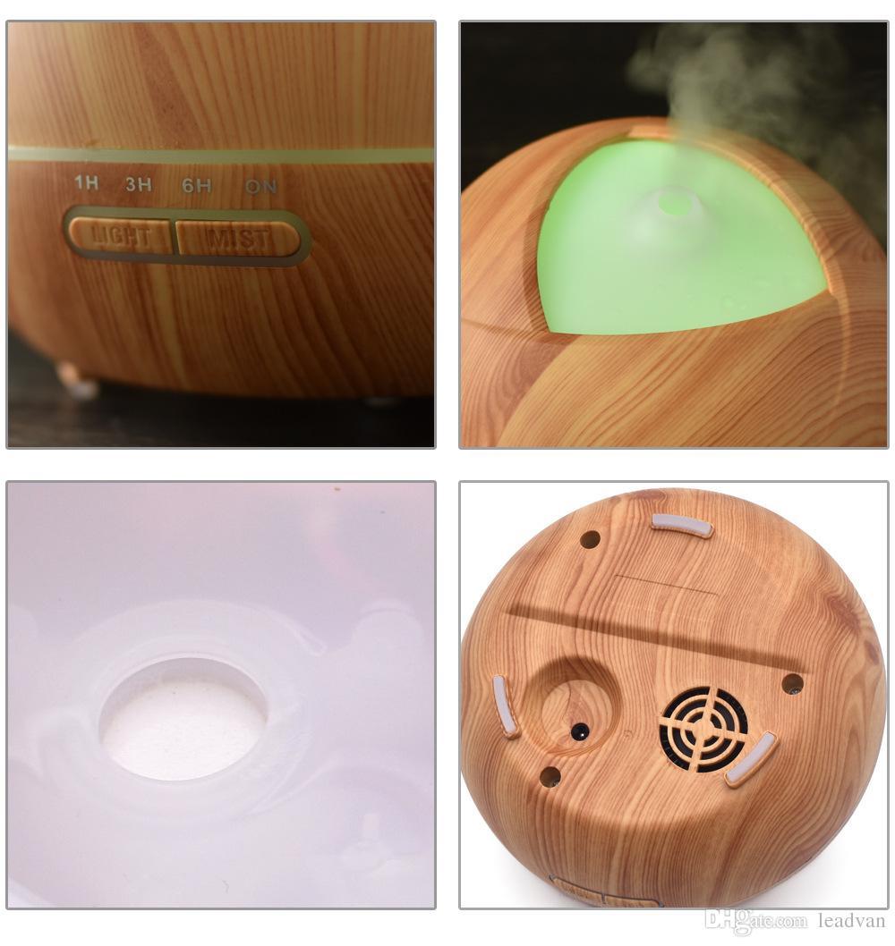 es que cambian Luces llevadas Difusor portátil del aceite esencial Fabricante de la niebla Purificador ultrasónico Difusor aromático de madera del aroma del aire