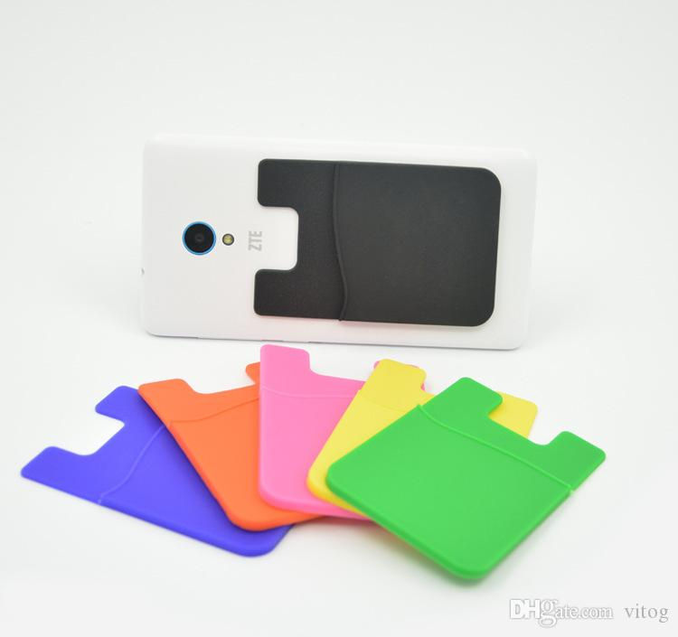 Wholesale - Silicone Wallet Credit Card Cash Pocket Sticker Adhesive Holder Pouch Mobile Phone 3M Gadget Samsung