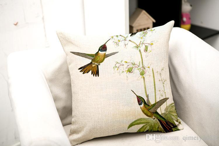 Hummingbird Подушка Урожай Декоративные подушки Обложка Главная Хлопок белье Гостиная Кровать Стул Сиденье Талия Throw Подушка Обложка