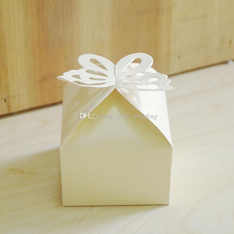 Yeni Kelebek Düğün Şeker Kutuları Kare Kağıt Parti Hediye Kutuları Düğün Favor Kutuları Mor Pembe Beyaz Sarı Kırmızı Kremsi