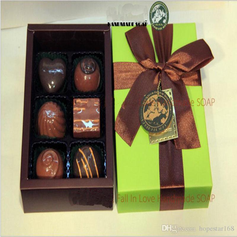 Eco-Friendly 100% Handmade Chocolate Style Oil Soap Decorative Christmas Gift Box Savon Coffret Idee Cadeaux