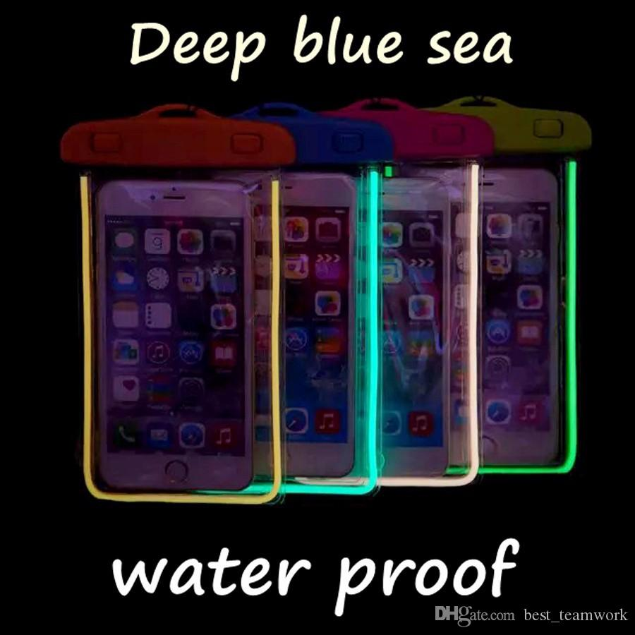 Universal Glow in dark Waterproof Coque Case For iPhone 7 6 5 S For Samsung Galaxy J5 S5 Case Cover Swim Waterproof Phone Pouch Fluorescent