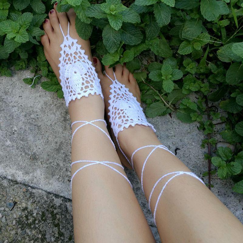 90a9d2a44864 Crochet White Flower Barefoot Sandal