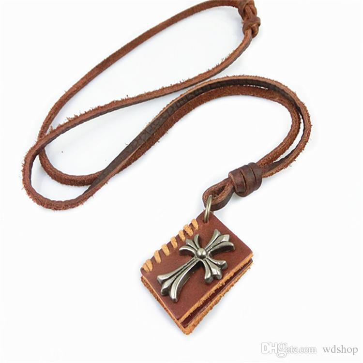 Vintage Book Shape Genuine Leather Jesus Cross Pendant Necklace Men Women Classic Chunky Statement Sweater Choker Colar Bijoux Jewelrys