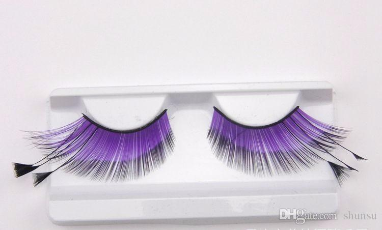 Hot Color False Eyelashes Natural Purple Winged Feathers Handmade Fake Eyelashes Catwalk Stage Exaggerated Lashes Makeup