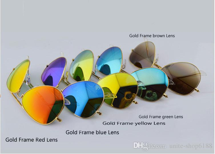 New Style Folding Sunglasses unisex Sun glasses Mens Womens colorized lens glasses Mirror Folding Sunglasses glass Lens