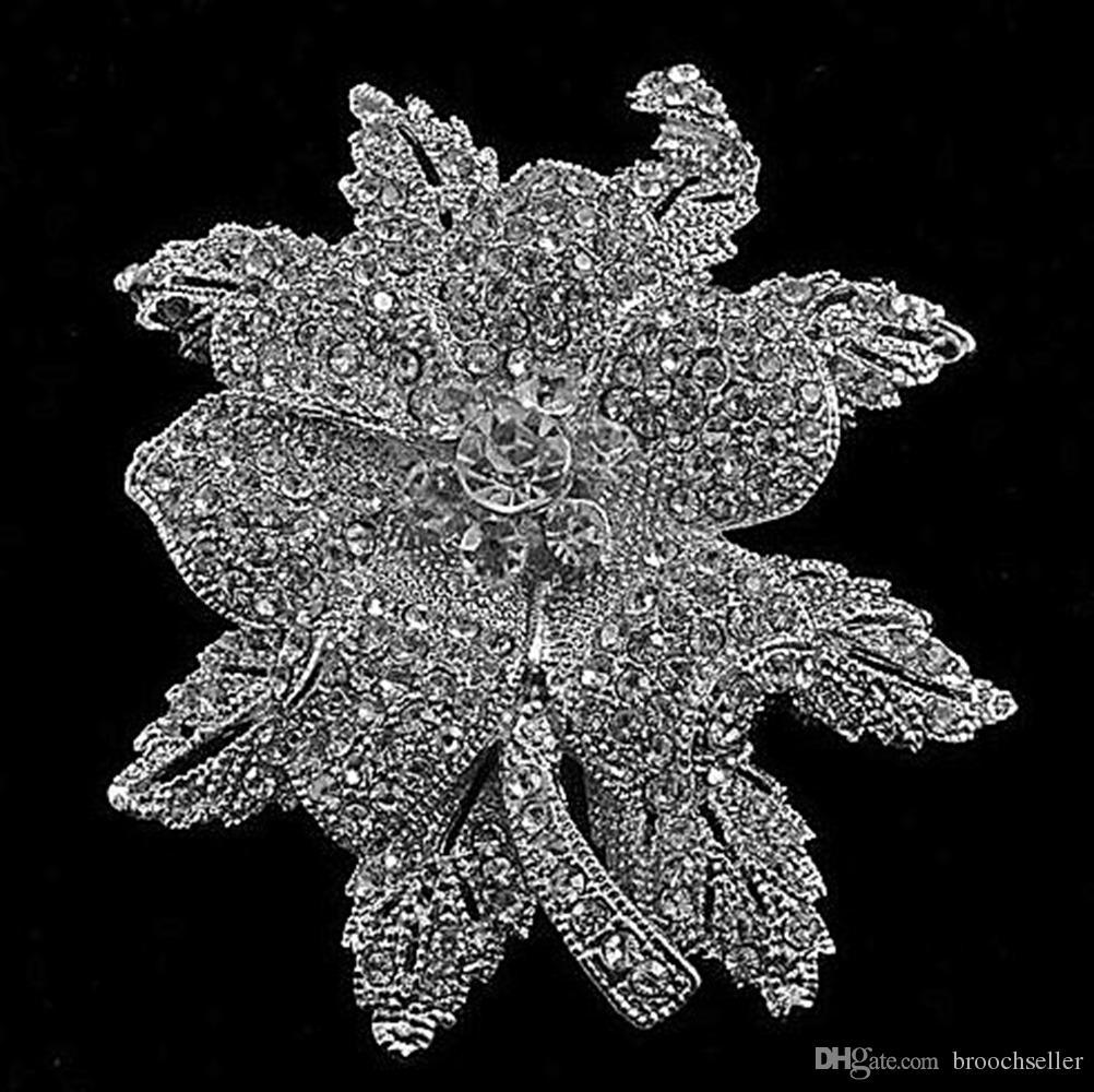 3 pulgadas Extra Large Look Vintage Rodio plateado Rhinestone Cristal Hermosa hoja Flor Boda boda Ramo Broche