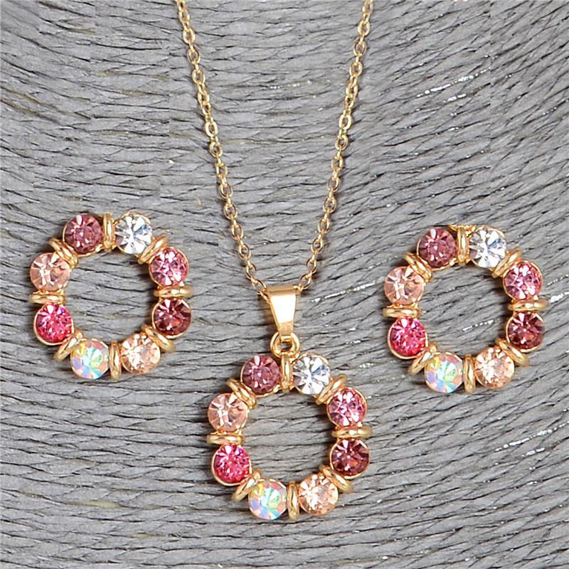 ZOSHI 2017 Gold Farbe Kreis Kristall Schmuck Sets Für Frauen Halskette Ohrringe Schmuck Set Neue Braut Hochzeit Zubehör