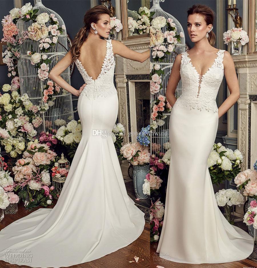 Elegant Sheath Wedding Dresses 2017 Mikaella Bridal Sleeveless Thick ...