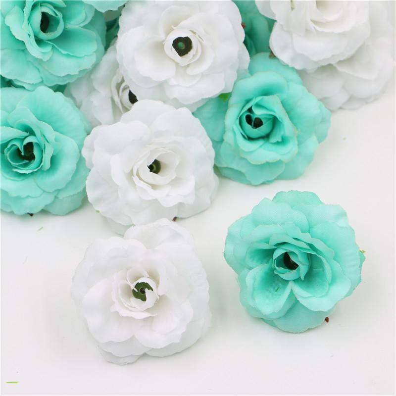 2018 Wholesale White Tiffany Blue Beautiful Silk Artificial Rose Flowers Wedding Supplies Fake Head For Home Decorations From Shoes2244
